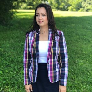 Anne Klein Plaid Seersucker Blazer